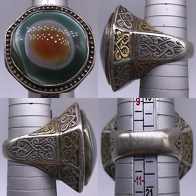 Ancient Agate Stone Silver Wonderful old  Lovely Ring 39gr