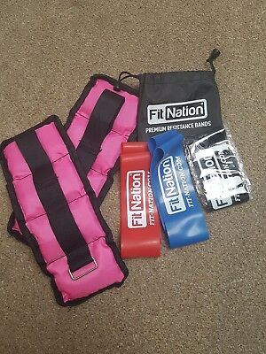 bundle of ladies 0.5 kg ankle/wrist weights and three resistance bands