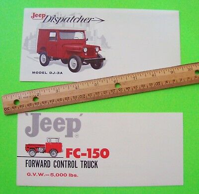 2 Diff 1961 Jeep Color Brochures FORWARD CONTROL TRUCK & DISPATCHER wow NR-MINT