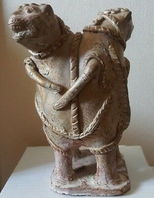 Very rare ancient  Two headed terracotta fertility Figurine