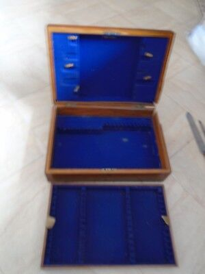 Antique  Mahogany Wood Canteen Cutlery Box Desk Top Storage Box  With Tray