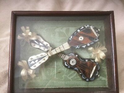 Victorian Miniature Mandolin and Guitar in Wooden Case .. Mother of Pearl Inlay