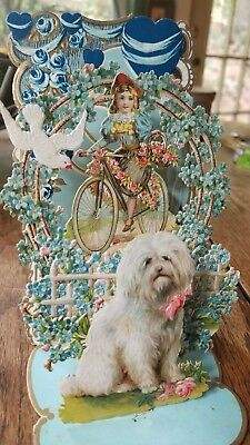 Antique Early Girl on Bicycle 1900's Large unsigned Valentine Day card