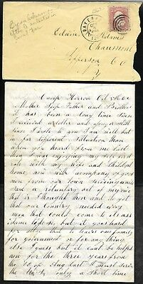 Oct 1862 Soldier's Cover + Letter Camp HERRON Davenport Iowa to Chaumont NY