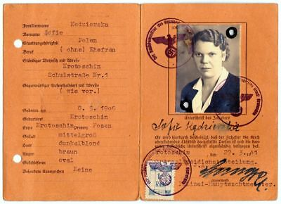 WW2 ID Card Chief Protective Police Personalausweis Polizeihauptwachtmeister Sch
