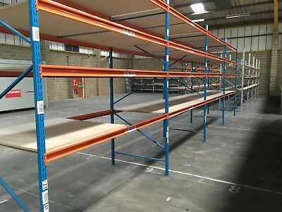 2 uprights 3 shelves with chipboard infill 2.5M wide 3M tall