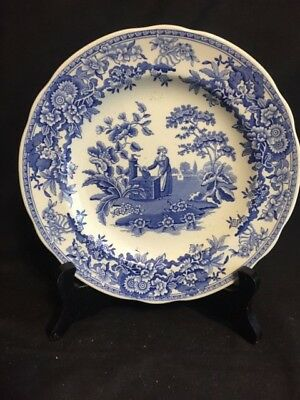 Spode Blue Room Collection Girl at Well Salad  Plate, Blue on White, No damage