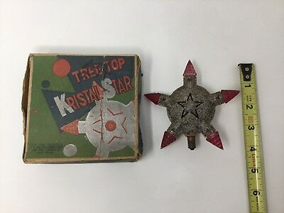 "Vintage Glitter Star Christmas Light Bulb Large 4.5"" With Box"