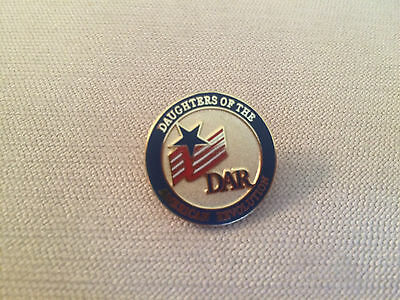 DAR Daughters of the American Revolution Round Logo Flag Star Pin Red & Blue