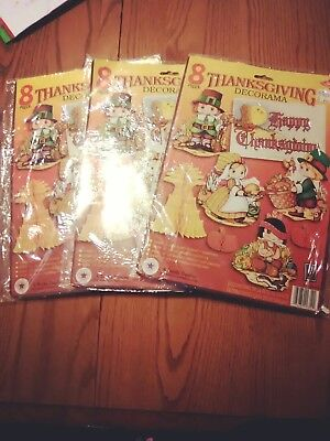 Lot of 3 sets of beistle vintage thanksgiving decorama paper cut outs and honey