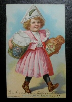 1901 Pan American Expo Buffalo Heinz and Little Girl Trade Card Our Commissary