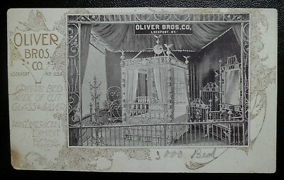 1901 Pan American Expo Buffalo Trade Card Oliver Brothers Glass & Silver Bed