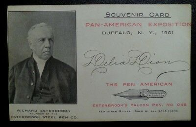 1901 Pan American Expo Buffalo Souvenir Trade Card Esterbrook and The Pen