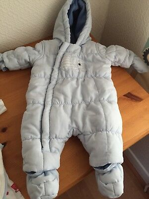 Baby Boys Blue Snow Suit / pram suit / All in One - Newborn Mothercare