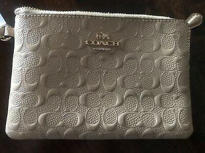 Authentic Coach Wristlet beige with gold zipper NWT & Box