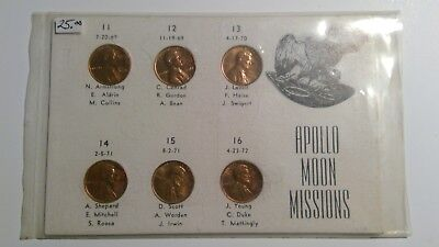Apollo Moon Missions PENNY Coin Set 1969 - 1972 Lincoln Novelty Cents 11 - 16!!