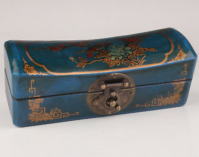 Blue Leather Dowry Flower Bird Adorn Wood Jewelry Box Collectable