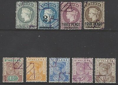 ST.HELENA collection of early classic Victorian stamps w/ violet cancel/postmark