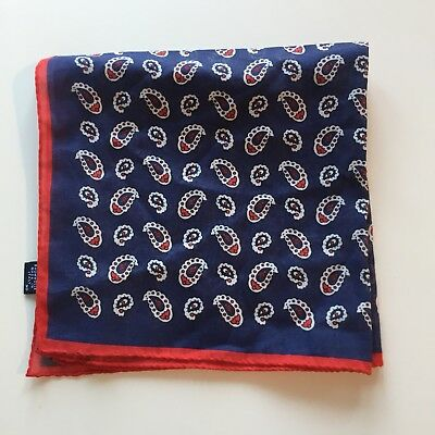 DRAKES - Pocket Square blue with pattern 100% cotton. Made in Italy