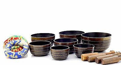 Set of 7 Chakra singing bowl-All in one-Handmade in Nepal, healing bowls Brown