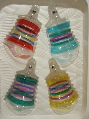 4 Glass Christmas Ornaments - Shape of Bells w/Multi-Colored Stripes
