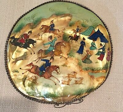 Antique Vintage Persian Painting Hand Painted Shell Sea Clam Asian Hunting Scene