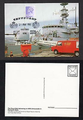 Postcard - Royal Mail delivering to HMS Ambuscade in Plymouth Dock p/m BFPO 100