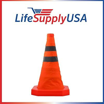 """100PK Collapsible 15.5"""" Reflective Pop Up Road Safety Extendable Traffic Cones"""