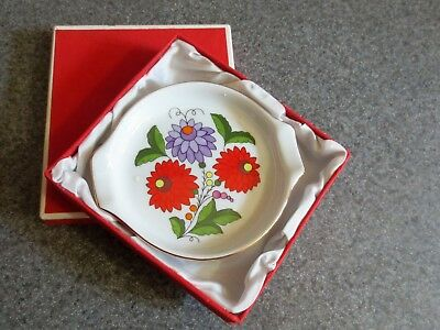 Kalocsa Porcelain Small Trinket Tray/Spoon Rest Hand Painted Hungary