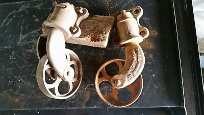 Pair of Vintage antique Chas e Francis Iron caster wheels Cart Industrial rail