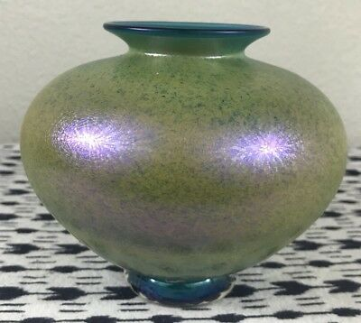 Vintage Signed Magic Sands Iridescent Blue Yellow Stretch Glass Studio Art Vase