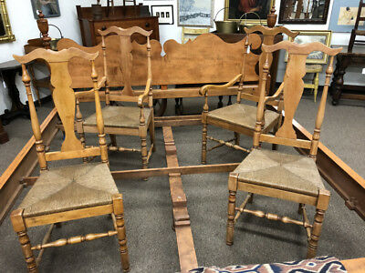 Vintage set of 4 maple Queen Anne style country kitchen dining chairs rush seats