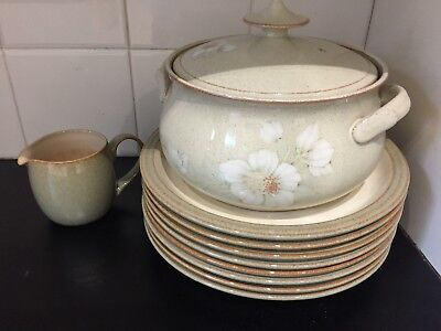 DENBY Handcrafted Fine Stoneware 10 Pieces Dinner Plates Casserole and Jug