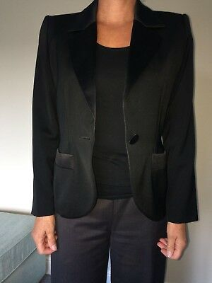 Women's Vintage YSL YVES SAINT LAURENT Black Designer WOOL Jacket SIZE EUR 38.