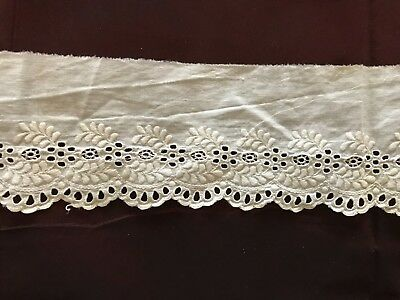 """VINTAGE HANDMADE ENGLISH EMBROIDERY Edging trim  57"""" by 3"""""""