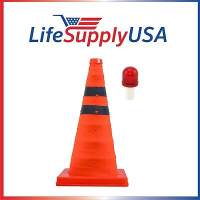"""10 Collapsible 18"""" Reflective Pop Up Safety Extendable Traffic Cones w LED Light"""