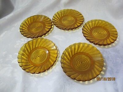 Amber 5 glass small plates for cookie for sale !!!