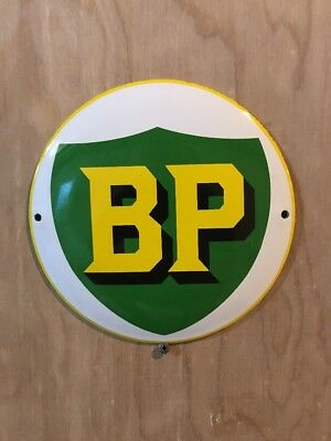 BP GAS round Dome Porcelain Gasoline Oil Advertising Sign