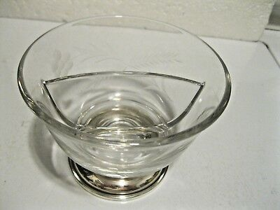 Vintage Whiting Etched Glass Divided Bowl W/Sterling Silver Footed Banding