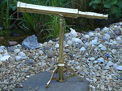 Large Brass Table Top Telescope & Stand Antique Nautical -Film Prop-Shop Display