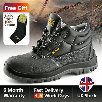 6f17e320ae3b Safetoe Mens Safety Shoes Work Boots Black Leather Anti-nail Steel Toe Cap