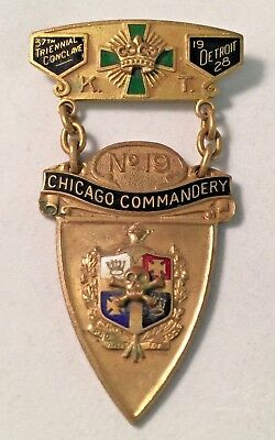 Vintage c1928 Detroit Chicago No 19 Commandery Masonic Knights Templer Pin