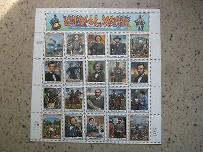 CIVIL  WAR       USPS   Postal  Stamps     Sheet Of Twenty     32 cents   1994