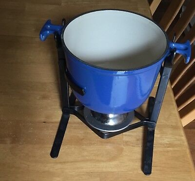 Vintage Cast Iron Le Creuset Fondue Blue Number Two Made In France