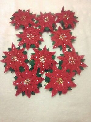 lot of 10 vintage felt sequined poinsettia napkin rings