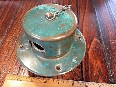 """Vintage Old Bronze Round Anchor Chain Pipe 5"""" Od Deck Flange Nice Patina"""