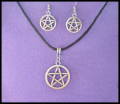 Pentagram -   Pendant And Earring Set - On 3Mm Adjustable Waxed Cord