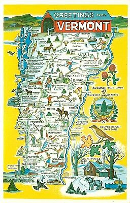 FMRA VERMONT STATE MAP GREETING POSTCARD b163