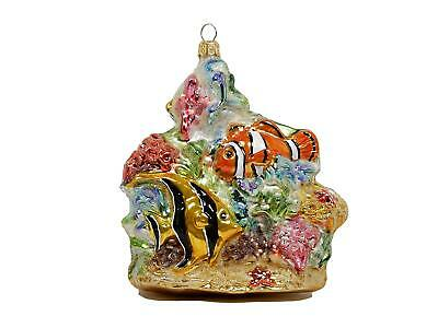 Coral Reef Tropical Fish Ocean Sea Glass Christmas Ornament Decoration 020054
