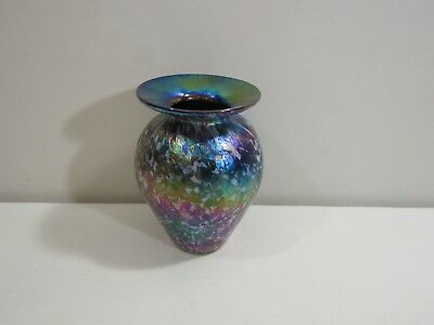 "1993 Artist Signed 4 1/4""h Multi-color Iridescent Art Glass Studio Vase"